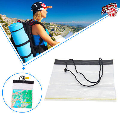 Clear Waterproof Camping Hiking Transparent Map Cover Case Holder Bag UK STOCK