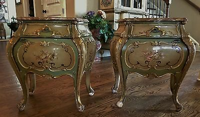 Pr Antique French Louis Xv Vernis Martin Painted Nightstands Chest Marble Tops