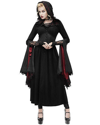 Devil Fashion Womens Gothic Jacket Dress Black Red Hooded Cloak Steampunk VTG