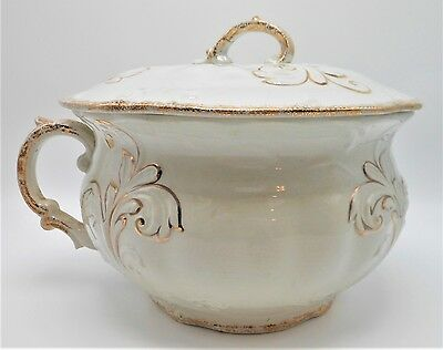 Vintage Ironstone China Chamber Pot with Gold Gilt - Unknown Maker