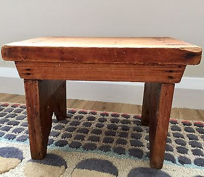 Vintage Solid Pine Wood Small Foot Stool Primitive Wooden Table Rustic