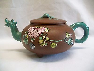 c1920 CHINESE YIXING ENAMELLED TEAPOT COILED DRAGON SEAL MARK SPOUT LIZARD LID