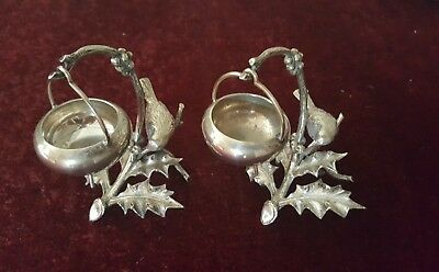 Old Sheffield Plate Pair Of Salts Holly Branch /berries & Birds