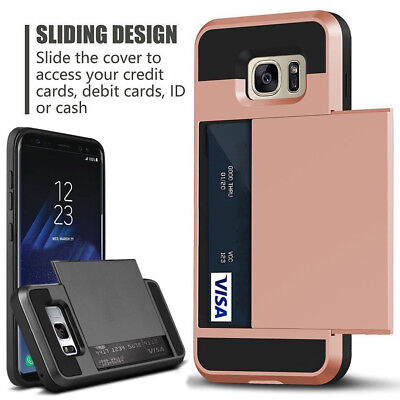 For Samsung Galaxy Note 9, S9, S8, S7 Rugged Armor Card Pocket Wallet Case Cover