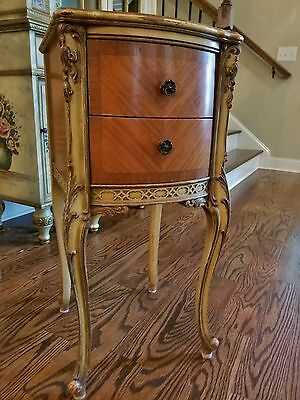 Antique Ouveau French Louis Xv Striped Mahogany Drawers Nightstand Table Chippy