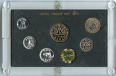 1973 Nepal 7 Coin Proof Set - JX593
