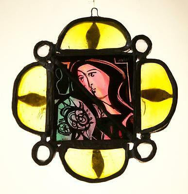 Stained Glass  – Madonna and Flower – Religious - Vintage