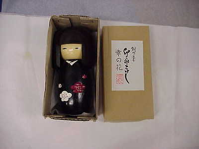 Woody Craft Japan Doll & Box Wood Carved Hand Painted Beautiful Vintage