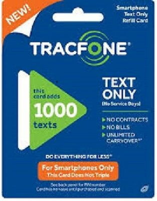 Tracfone Refill 1000 Text for Active Smartphone - Only Online - 1000 Text Msgs
