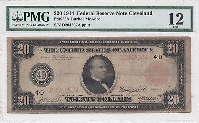 ***HARD TO FIND & RARE*** 1914 $20 RED SEAL Federal Reserve Note! >>>PMG 12<<<