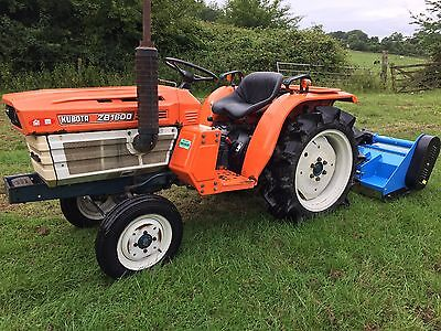 Kubota B1600 2WD Compact Tractor with New 4FT Flail Mower, 980 Hours
