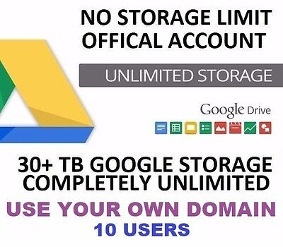 Google Drive Unlimited Storage 30TB+ | Use Your Own Domain | 10 Users
