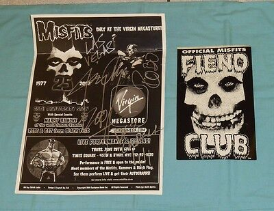 MISFITS FIEND CLUB STICKER & SIGNED FLYER POSTER Jerry Only Dez Cadena Robo