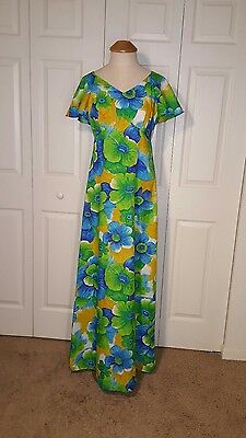 "Vintage Pomare Hawaii Tropical Floral Long Maxi Dress 36"" Bust Green Blue 70s"