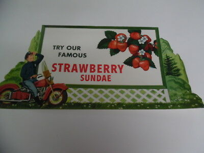 c.1950s Drive-In Restaurant Strawberry Ice Cream Sundae Diner Paper Sign Vintage
