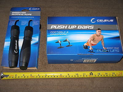 Celcius Weighted Skipping Rope + Push Up Bars Workout Cardio Exercise BRAND NEW
