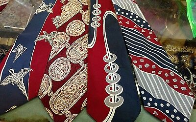 """4 Vintage 30s 40s Red Neck Ties Abstract Swing Lindy Hop 49"""" long 4"""" wide lot"""