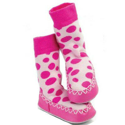 Pink Spots Mocc Ons Baby Toddler Slipper Socks Various Sizes