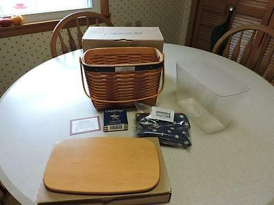 Longaberger 2001 Whistle-Stop Basket Lid Liner Tie On Protector In Box