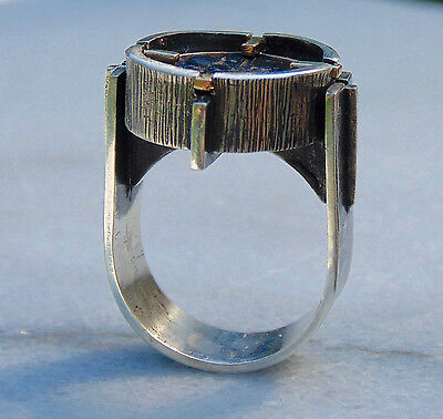 Modern Women Sterling Silver & 14kt Gold Ring with Ancient Honey Bee coin Size-7