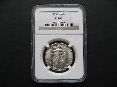 MS 66, NGC certified 1946 S 50C Walking Liberty Half Dollar, 90% silver coin
