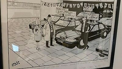 Original (J.A.K.) Raymond Allen Jackson Pen & Ink and Wash Cartoon Rover Cars