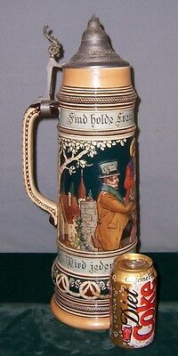 Vintage German Large Stein Raised In Relief 18 1/2 Inches Tall