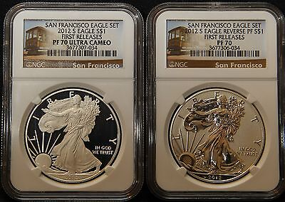 2012 S$1 Ngc Pf70 Ultra Cameo & Reverse Pf70 Proof Silver American Eagle Set