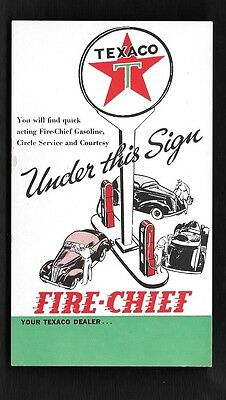 1938 #8 Texaco Advertsing Postcard Fire Chief Gasoline Under The Sign