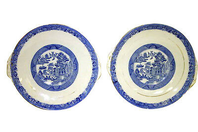 Pair Antique English Porcelain Bone China Blue Willow Transfer Plates Servers