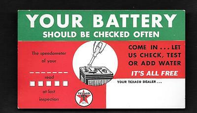 1938 #2 Texaco Advertising Postcard Your Battery Should Be Checked Often Free