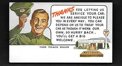Texaco Advertsing Postcard Thanks For Letting Us Service Your Car  Hat Station