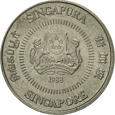 [#419181] Singapore, 10 Cents, 1988, British Royal Mint, AU(55-58)