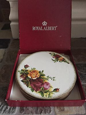 Old Country Roses Royal Albert Coasters Set In Box Set Of 4 Coasters