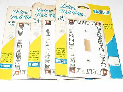 Vintage Leviton Deluxe Wall Plate Single Switch - Lot Of 3 - Free Us Shipping!