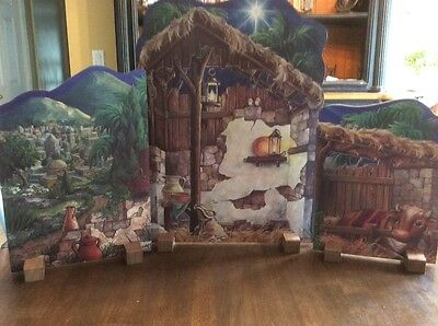 Byers Choice Nativity Backdrop Three Wood Panels and Stands Background