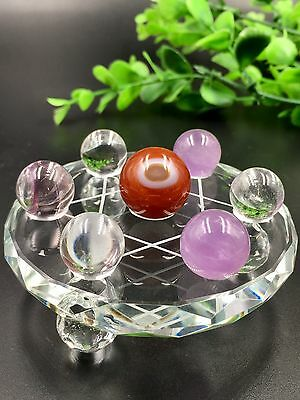 Natural Purple white Quartz Crystal agate Ball With Plate Seven Star Array*4350