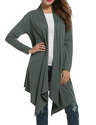 Sherosa Women Loose Draped Open Front Mid-long Lightweight Spring Cardigan Sw...