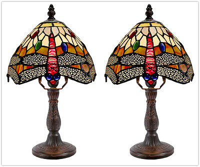 """Pair*Stunning 8"""" Traditional Dragonfly Stained Glass Tiffany Mini Table Lamp"""