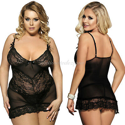 Babydoll Woman's Sheer Floral Lace Black 2Pc G string Lingerie Set - Plus Sz8-26