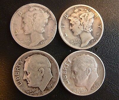 United States Dimes (4) 1925 -1943 - 1946 - 1959. Average Condition Coins.