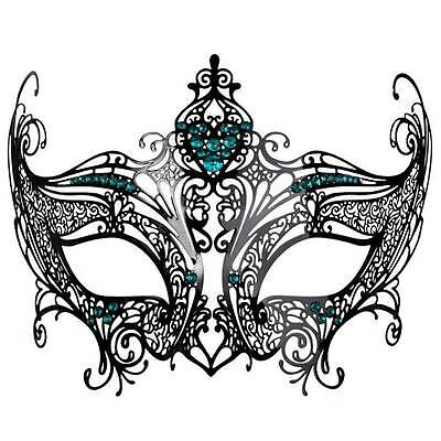 Masquerade Mask Venetian Style Party Black Lace Metal With Green Diamantes  G