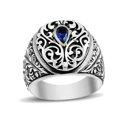 Turkish Handmade 925 Sterling Silver Sapphire Mens Ring Sz 10 Us Free Resize 380