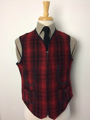 Vintage WOOLRICH Shadow Buffalo Plaid Wool Vest Waistcoat Cinch Back Size Small