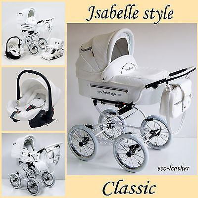 Pram pushchair baby buggy retro classic White eco-leather 3 in1 Travel System