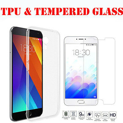New Ultra Thin Slim TPU Gel Skin Pouch 100% Genuine Tempered Glass For Meizu