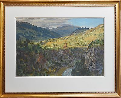 Towerhouse on river gorge, Watercolour by Robert Tucker Pain listed artist 1869