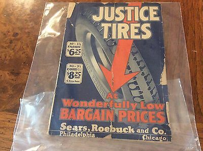 """ANTIQUE ~1925 -Sears, Roebuck & Co. Sale BOOKLET FOR  """"JUSTICE TIRE"""" on Cover"""