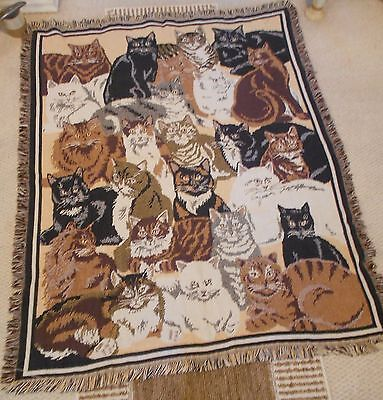 """Goodwin Weavers 100% Cotton Cat Blanket/throw/rug-Fringed-Very Good-48"""" X 58"""""""