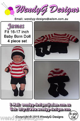 Baby Born Knitting Pattern (JAMES) fits 16 to 17 inch dolls (pattern only)